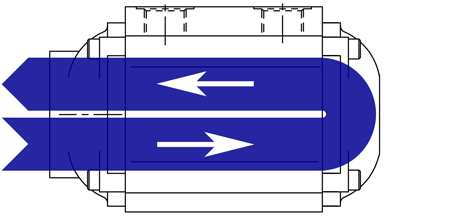 Diagram of 2 pass oil cooler